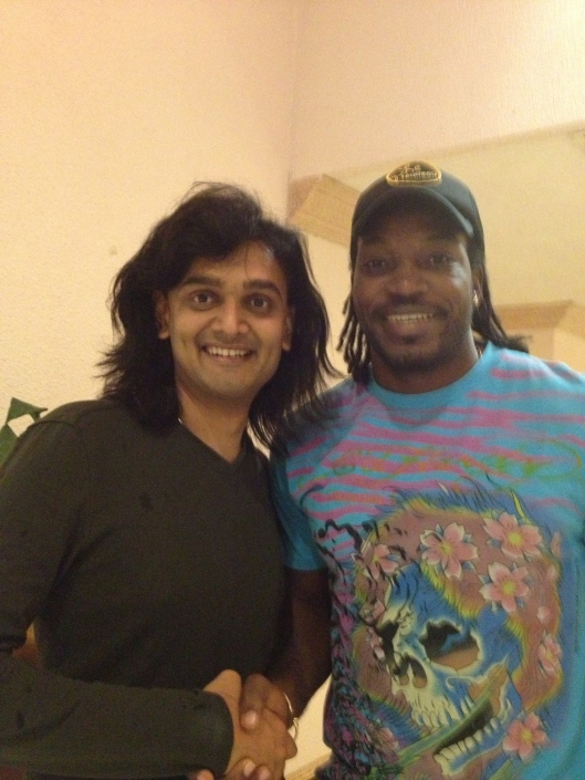 Senior International Art of Living teacher Dushyant Savadia with West Indies international cricketer Chris Gayle