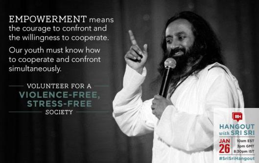 Google hangout with Sri Sri Ravi Shankar for a Stress Free, Violence Free society!