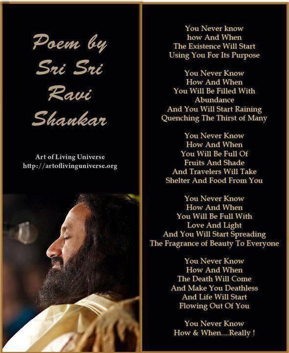You Never Know By Sri Sri Ravi Shankar Art Of Living Sri Sri Ravi
